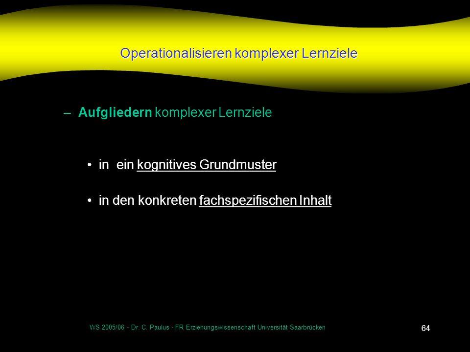 WS 2005/06 - Dr. C. Paulus - FR Erziehungswissenschaft Universität Saarbrücken 64 Operationalisieren komplexer Lernziele –Aufgliedern komplexer Lernzi