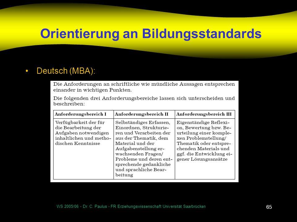 WS 2005/06 - Dr. C. Paulus - FR Erziehungswissenschaft Universität Saarbrücken 65 Orientierung an Bildungsstandards Deutsch (MBA):