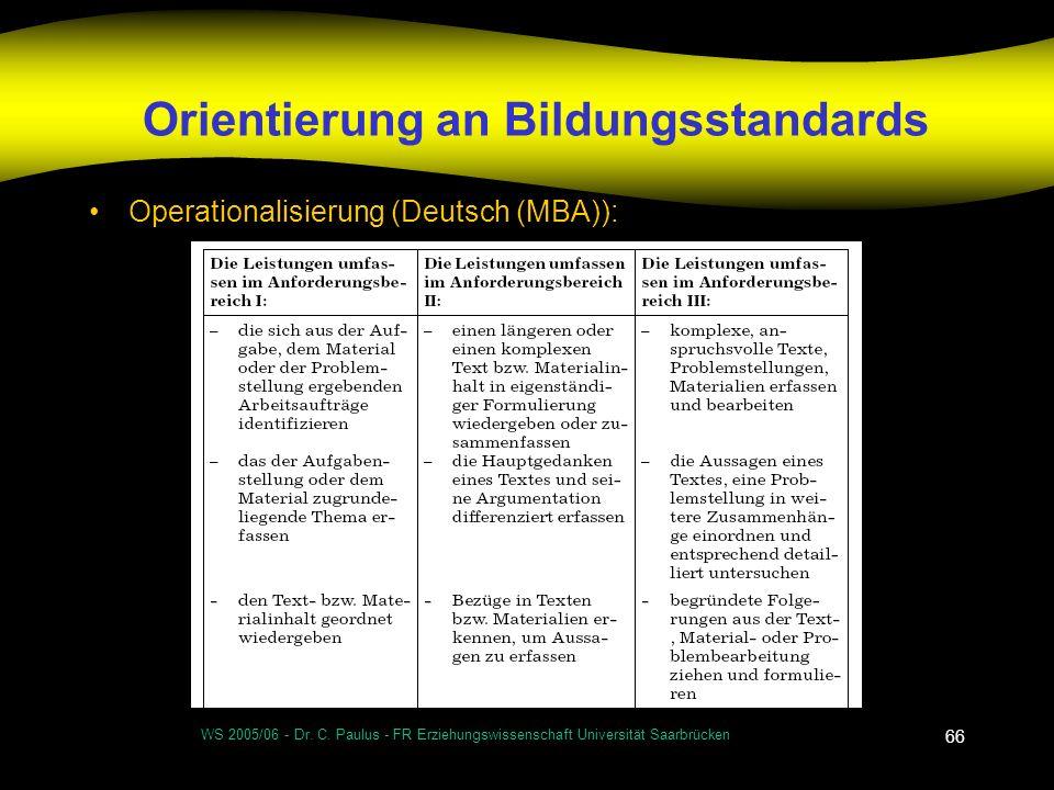 WS 2005/06 - Dr. C. Paulus - FR Erziehungswissenschaft Universität Saarbrücken 66 Orientierung an Bildungsstandards Operationalisierung (Deutsch (MBA)