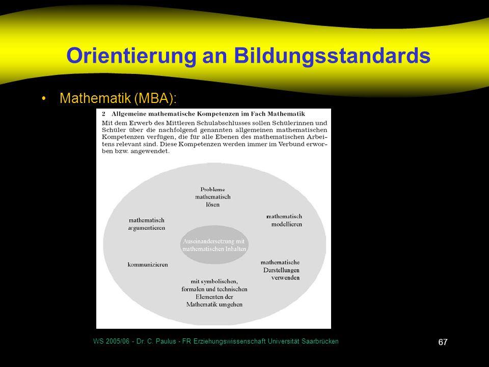 WS 2005/06 - Dr. C. Paulus - FR Erziehungswissenschaft Universität Saarbrücken 67 Orientierung an Bildungsstandards Mathematik (MBA):