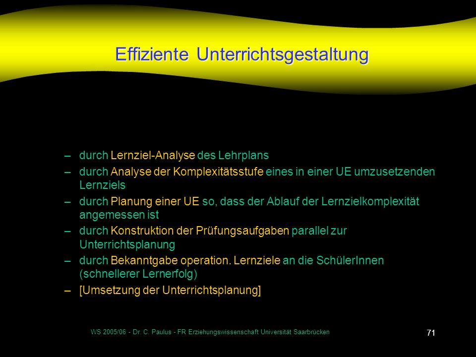 WS 2005/06 - Dr. C. Paulus - FR Erziehungswissenschaft Universität Saarbrücken 71 Effiziente Unterrichtsgestaltung –durch Lernziel-Analyse des Lehrpla