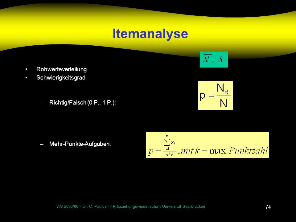 WS 2005/06 - Dr. C. Paulus - FR Erziehungswissenschaft Universität Saarbrücken 74 Itemanalyse Rohwerteverteilung Schwierigkeitsgrad –Richtig/Falsch (0