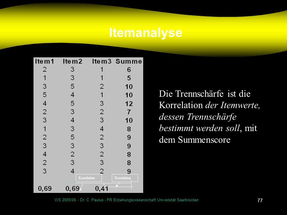 WS 2005/06 - Dr. C. Paulus - FR Erziehungswissenschaft Universität Saarbrücken 77 Itemanalyse Korrelation Die Trennschärfe ist die Korrelation der Ite