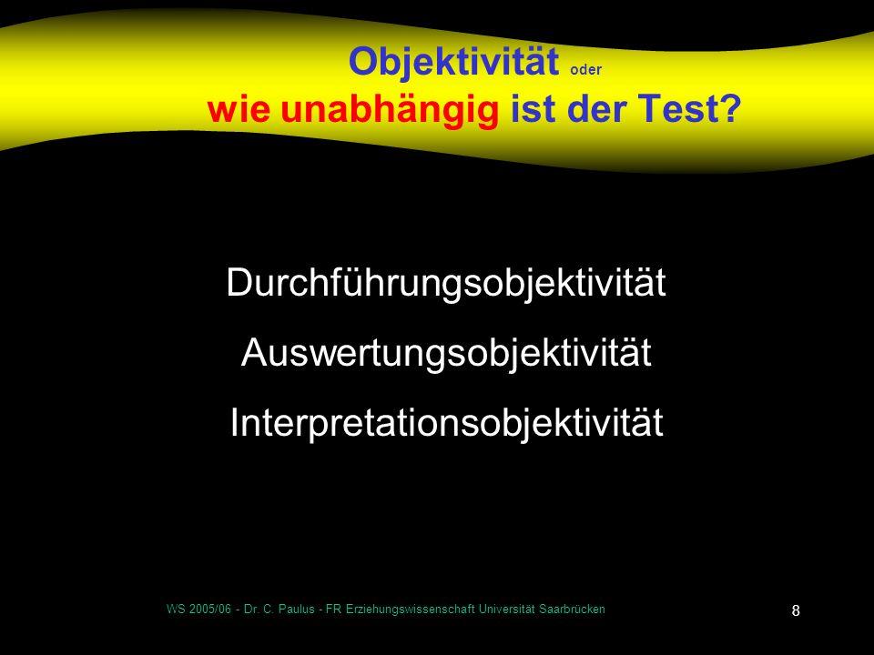 WS 2005/06 - Dr. C. Paulus - FR Erziehungswissenschaft Universität Saarbrücken 8 Objektivität oder wie unabhängig ist der Test? Durchführungsobjektivi