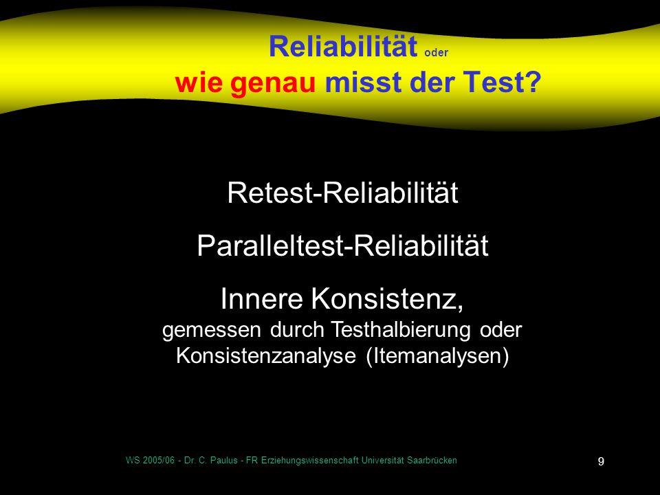 WS 2005/06 - Dr. C. Paulus - FR Erziehungswissenschaft Universität Saarbrücken 9 Reliabilität oder wie genau misst der Test? Retest-Reliabilität Paral