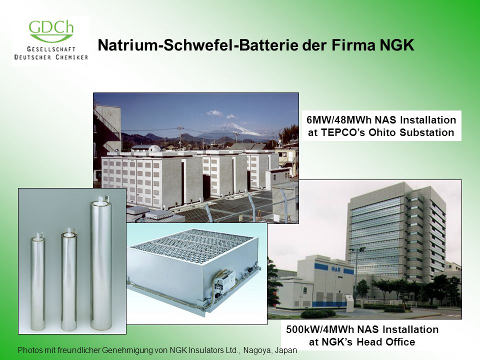 Natrium-Schwefel-Batterie der Firma NGK 6MW/48MWh NAS Installation at TEPCOs Ohito Substation 500kW/4MWh NAS Installation at NGKs Head Office Photos m