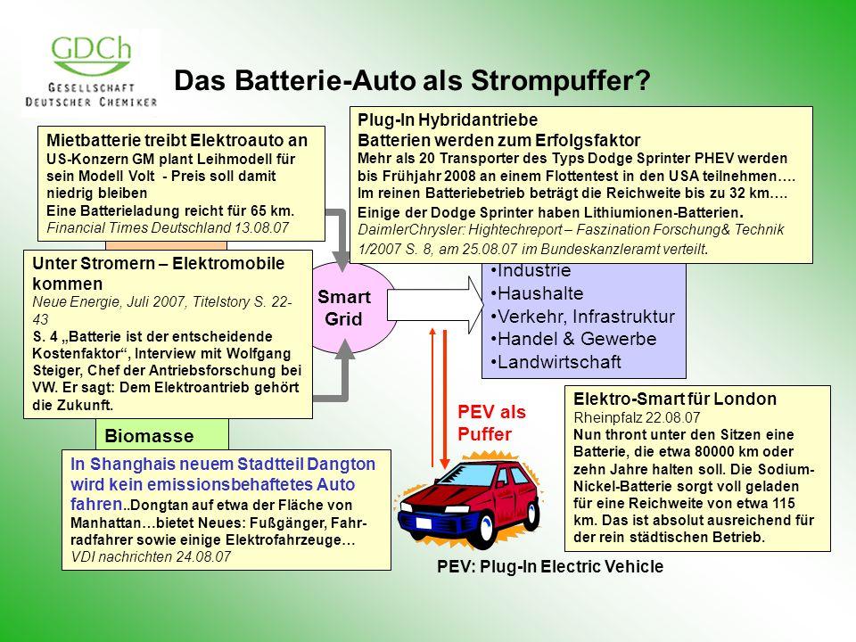 Das Batterie-Auto als Strompuffer? Verbraucher Industrie Haushalte Verkehr, Infrastruktur Handel & Gewerbe Landwirtschaft Stationäre Strom- speicher W