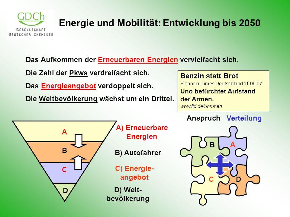 Energie und Mobilität: Entwicklung bis 2050 Das Aufkommen der Erneuerbaren Energien vervielfacht sich. Die Zahl der Pkws verdreifacht sich. Das Energi