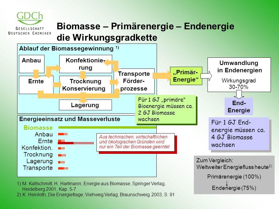 Biomasse – Primärenergie – Endenergie die Wirkungsgradkette Zum Vergleich: Weltweiter Energiefluss heute 2) Primärenergie (100%) Endenergie (75%) 1) M