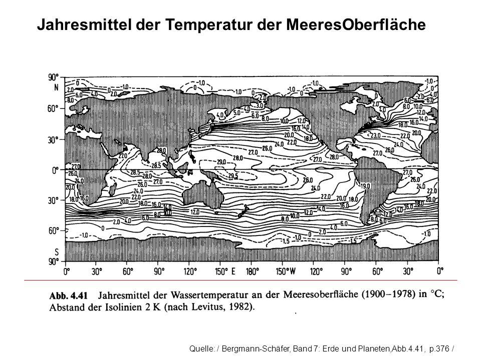 Jahresmittel der Temperatur der MeeresOberfläche Quelle: / Bergmann-Schäfer, Band 7: Erde und Planeten,Abb.4.41, p.376 /
