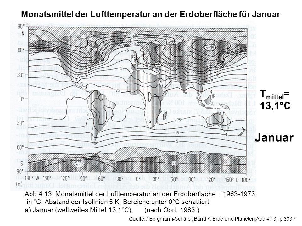 Monatsmittel der Lufttemperatur an der Erdoberfläche für Januar T mittel = 13,1°C Abb.4.13 Monatsmittel der Lufttemperatur an der Erdoberfläche, 1963-1973, in °C; Abstand der Isolinien 5 K, Bereiche unter 0°C schattiert.