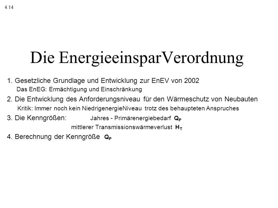 Energieeinspargesetz 1976 (EnEG) Wärmeschutz- verordnung WSchVO 1977 1984 1995 Energieeinsparverordnung 2002 (EnEV) Heizungsanlagen- verordnung HeizAnlV 1989 1994 1998 Der Weg zur EnergieEinsparVerordnung Urquelle: Prof.Heinrich, Uni Kaiserslautern, Vortrag Bingen 2002 4.141