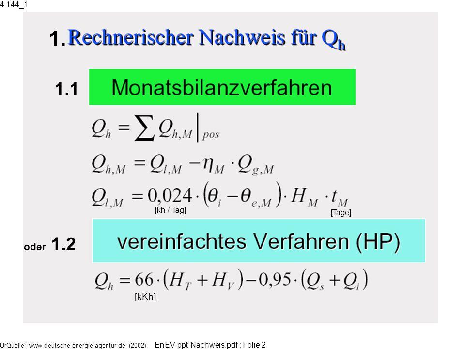 UrQuelle: www.deutsche-energie-agentur.de (2002); EnEV-ppt-Nachweis.pdf : Folie 2 Indexe: M= Monate l = loss g = gain i,e =innen, außen 1.1 oder 1.2 [