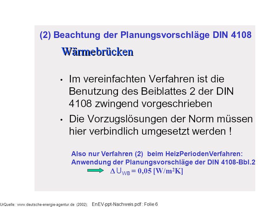 UrQuelle: www.deutsche-energie-agentur.de (2002); EnEV-ppt-Nachweis.pdf : Folie 6 Also nur Verfahren (2) beim HeizPeriodenVerfahren: Anwendung der Pla