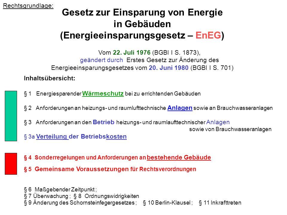 Rechtsgrundlage: Gesetz zur Einsparung von Energie in Gebäuden (Energieeinsparungsgesetz – EnEG) Vom 22. Juli 1976 (BGBl I S. 1873), geändert durch Er