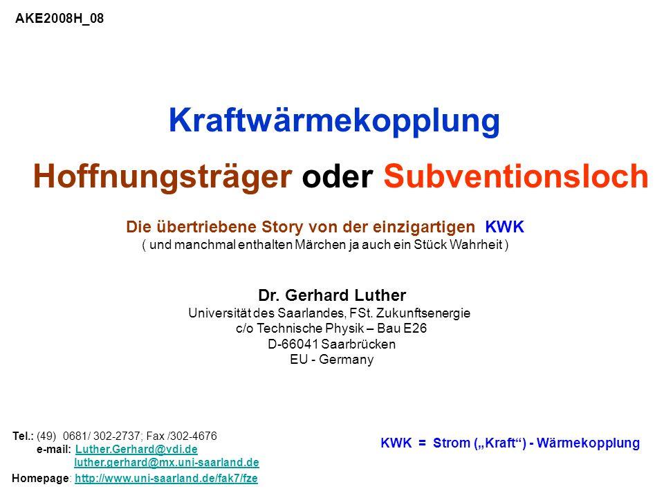 Der PE- Faktor f = Q 0 / Q 0 KWK für den PE- Aufwand: f = gesamt KWK / K + el KWK * { 1/ GUD - 1/ K } (4a) [ meist = 0 } Referenz: GUD = 60% für GUD –Kraftwerk K = 105% (Hu) für Brennwertkessel 1.05 = gesamt KWK 0.90 = 0.85 = gesamt KWK el KWK