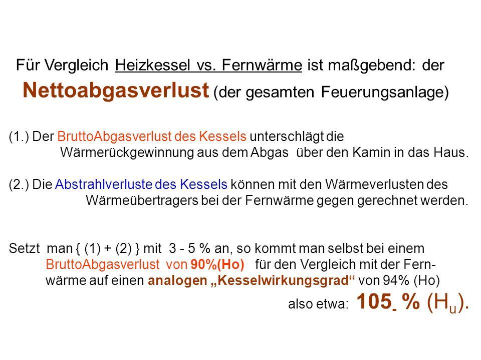 Für Vergleich Heizkessel vs. Fernwärme ist maßgebend: der Nettoabgasverlust (der gesamten Feuerungsanlage) (1.) Der BruttoAbgasverlust des Kessels unt