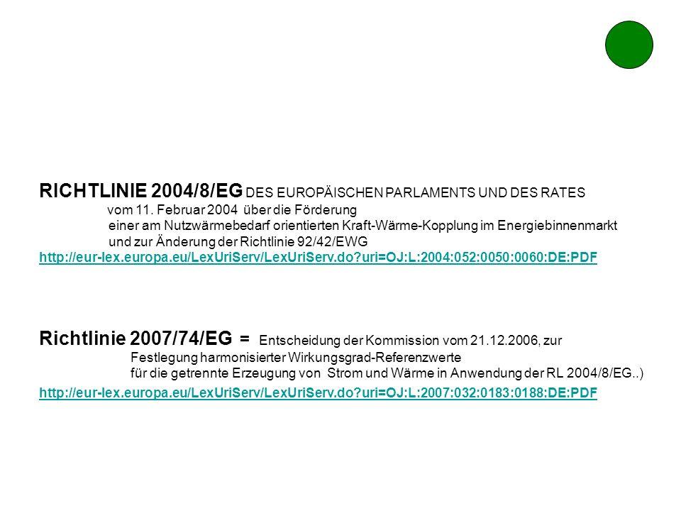 RICHTLINIE 2004/8/EG DES EUROPÄISCHEN PARLAMENTS UND DES RATES vom 11. Februar 2004 über die Förderung einer am Nutzwärmebedarf orientierten Kraft-Wär