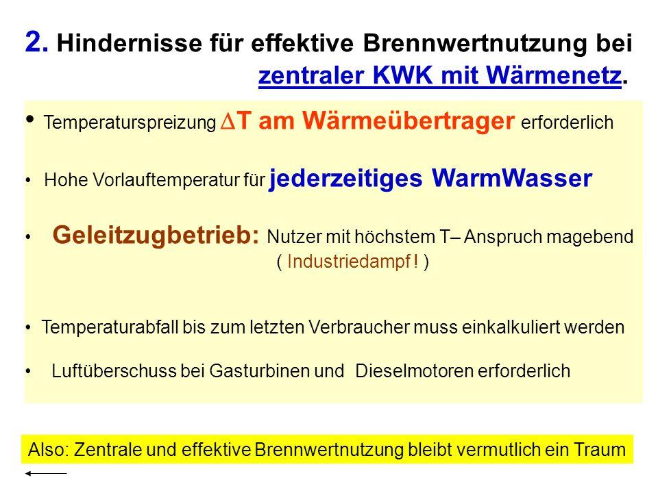 2. Hindernisse für effektive Brennwertnutzung bei zentraler KWK mit Wärmenetz. Temperaturspreizung T am Wärmeübertrager erforderlich Hohe Vorlauftempe