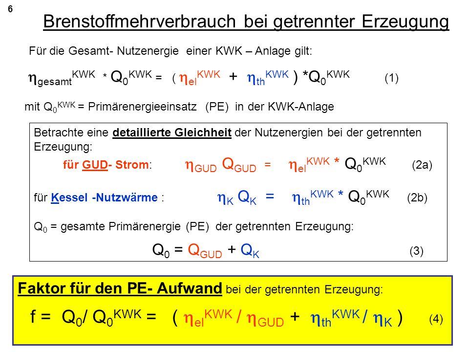6 Brenstoffmehrverbrauch bei getrennter Erzeugung Für die Gesamt- Nutzenergie einer KWK – Anlage gilt: gesamt KWK * Q 0 KWK = ( el KWK + th KWK ) *Q 0