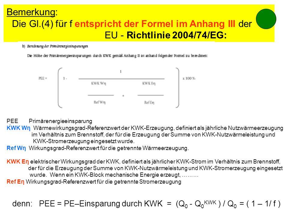 Bemerkung: Die Gl.(4) für f entspricht der Formel im Anhang III der EU - Richtlinie 2004/74/EG: denn: PEE = PE–Einsparung durch KWK = (Q 0 - Q 0 KWK )