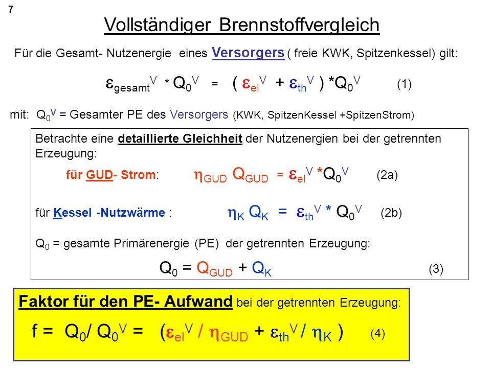 7 Vollständiger Brennstoffvergleich Für die Gesamt- Nutzenergie eines Versorgers ( freie KWK, Spitzenkessel) gilt: gesamt V * Q 0 V = ( el V + th V )