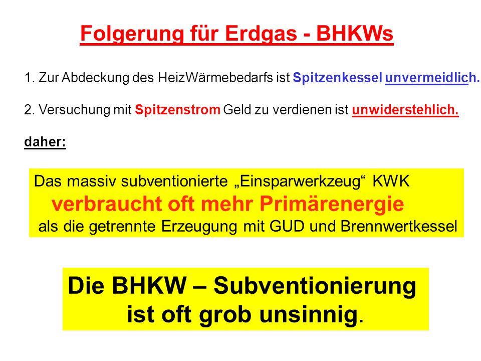 Das massiv subventionierte Einsparwerkzeug KWK verbraucht oft mehr Primärenergie als die getrennte Erzeugung mit GUD und Brennwertkessel 1. Zur Abdeck