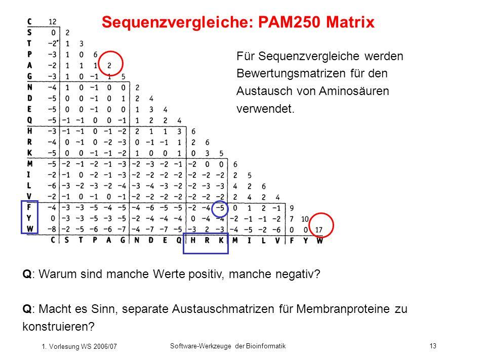 1. Vorlesung WS 2006/07 Software-Werkzeuge der Bioinformatik13 Für Sequenzvergleiche werden Bewertungsmatrizen für den Austausch von Aminosäuren verwe