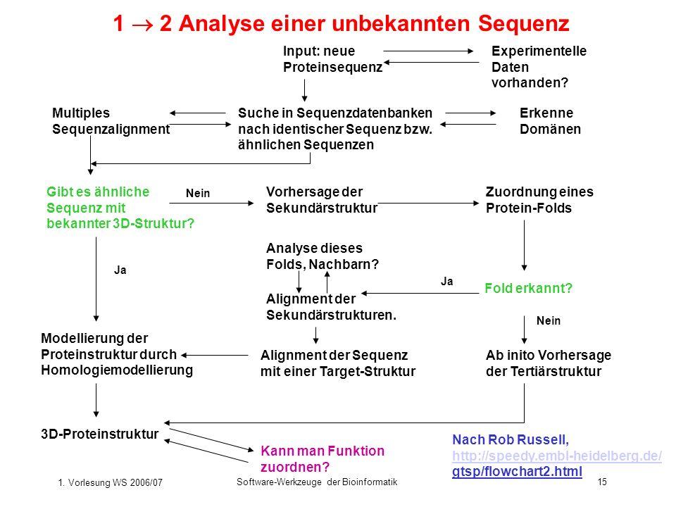 1. Vorlesung WS 2006/07 Software-Werkzeuge der Bioinformatik15 1 2 Analyse einer unbekannten Sequenz Suche in Sequenzdatenbanken nach identischer Sequ