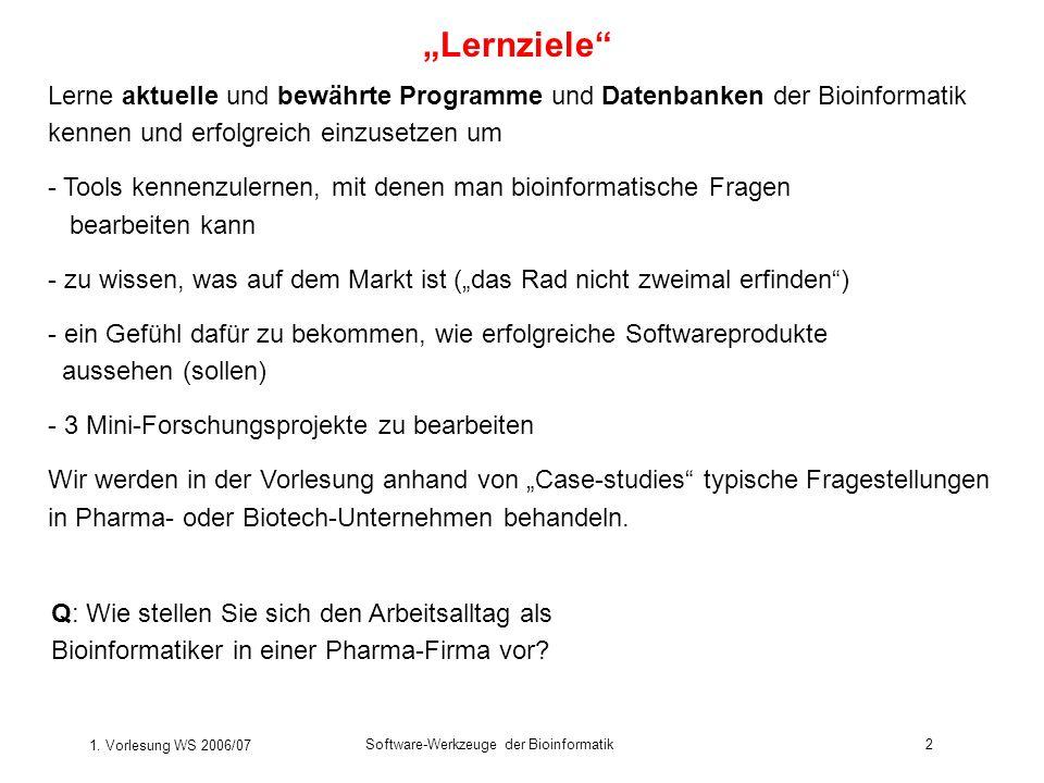 1. Vorlesung WS 2006/07 Software-Werkzeuge der Bioinformatik2 Lernziele Lerne aktuelle und bewährte Programme und Datenbanken der Bioinformatik kennen