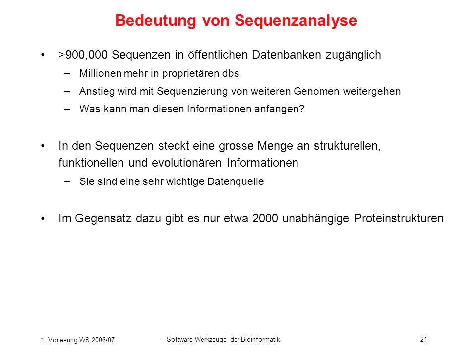 1. Vorlesung WS 2006/07 Software-Werkzeuge der Bioinformatik21 >900,000 Sequenzen in öffentlichen Datenbanken zugänglich –Millionen mehr in proprietär