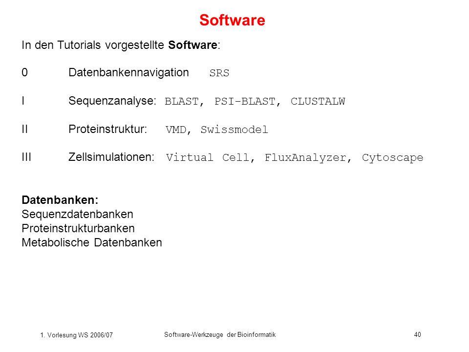 1. Vorlesung WS 2006/07 Software-Werkzeuge der Bioinformatik40 Software In den Tutorials vorgestellte Software: 0Datenbankennavigation SRS ISequenzana