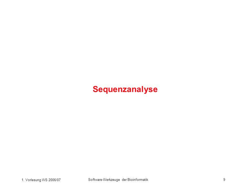 1. Vorlesung WS 2006/07 Software-Werkzeuge der Bioinformatik9 Sequenzanalyse