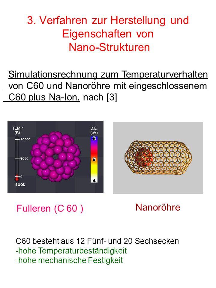 3. Verfahren zur Herstellung und Eigenschaften von Nano-Strukturen Fullerene Simulationsrechnung zum Temperaturverhalten von C60 und Nanoröhre mit ein