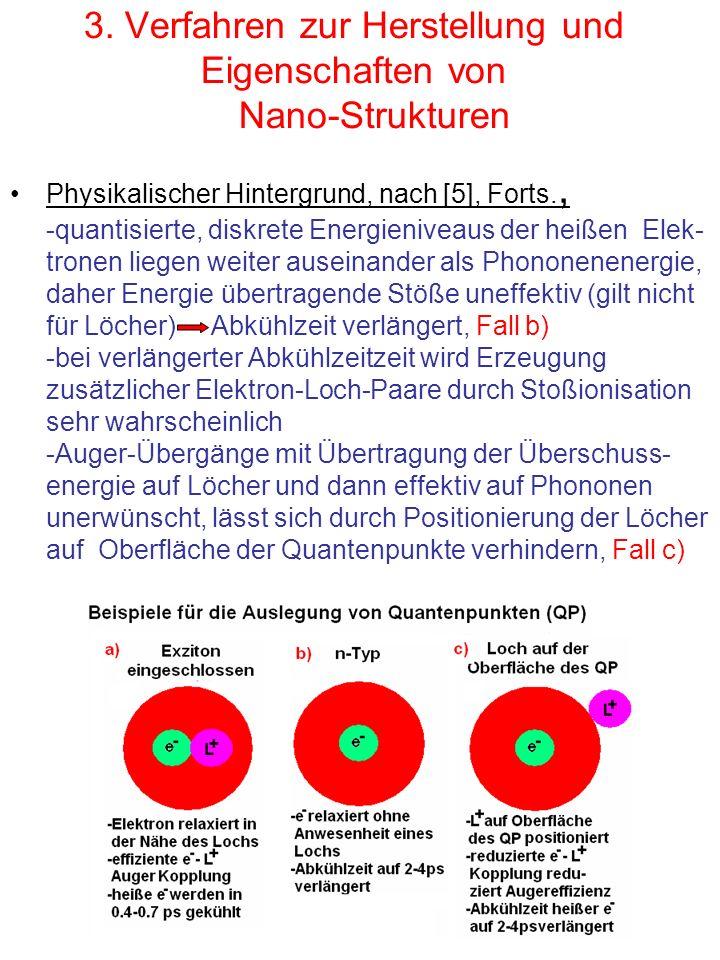 3. Verfahren zur Herstellung und Eigenschaften von Nano-Strukturen Physikalischer Hintergrund, nach [5], Forts., -quantisierte, diskrete Energieniveau