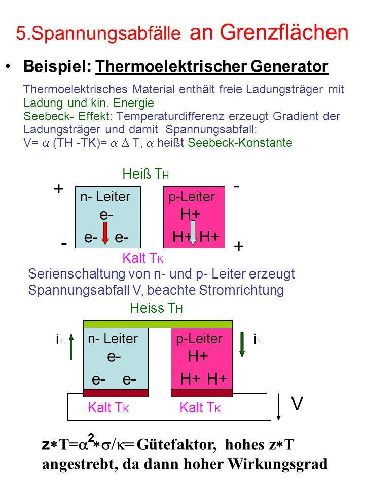 5.Spannungsabfälle an Grenzflächen Beispiel: Thermoelektrischer Generator Thermoelektrisches Material enthält freie Ladungsträger mit Ladung und kin.