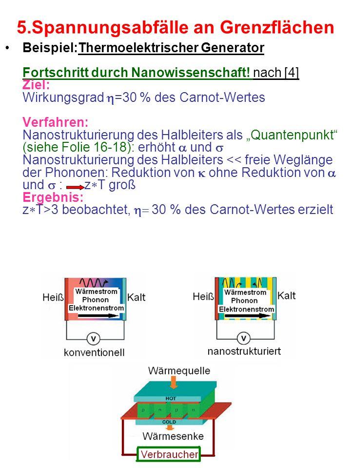 5.Spannungsabfälle an Grenzflächen Beispiel:Thermoelektrischer Generator Fortschritt durch Nanowissenschaft! nach [4] Ziel: Wirkungsgrad =30 % des Car