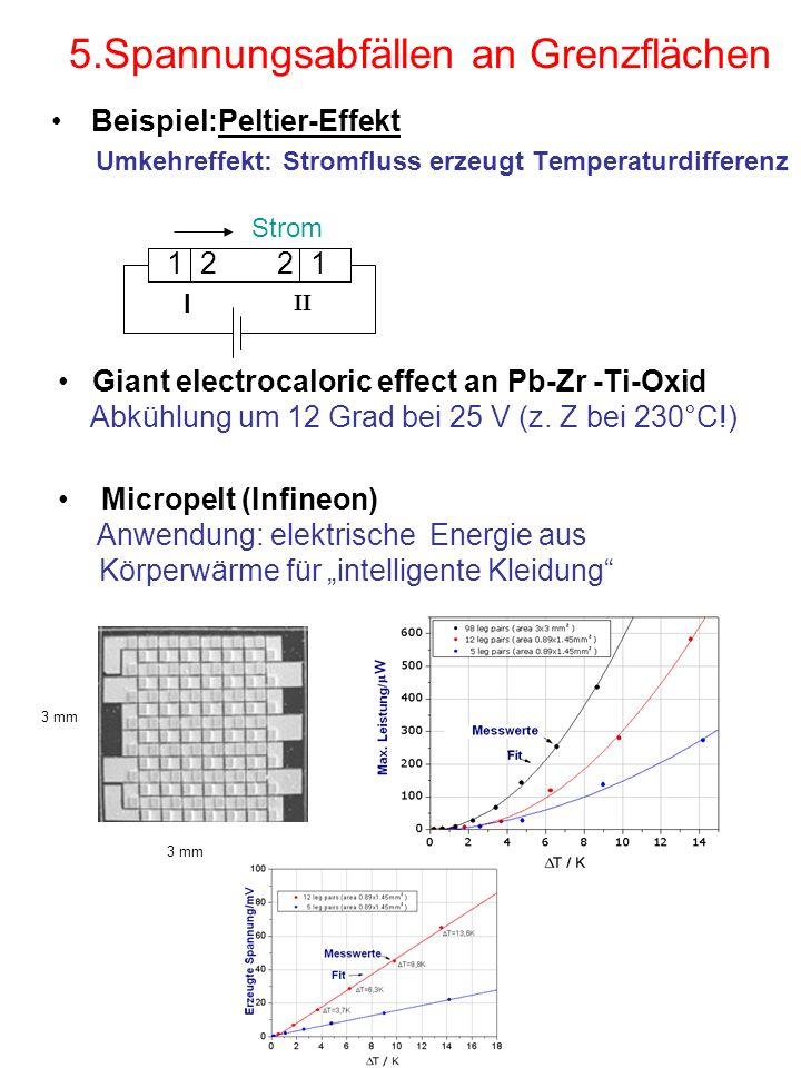 5.Spannungsabfällen an Grenzflächen Beispiel:Peltier-Effekt Umkehreffekt: Stromfluss erzeugt Temperaturdifferenz 3 mm Micropelt (Infineon) Anwendung:
