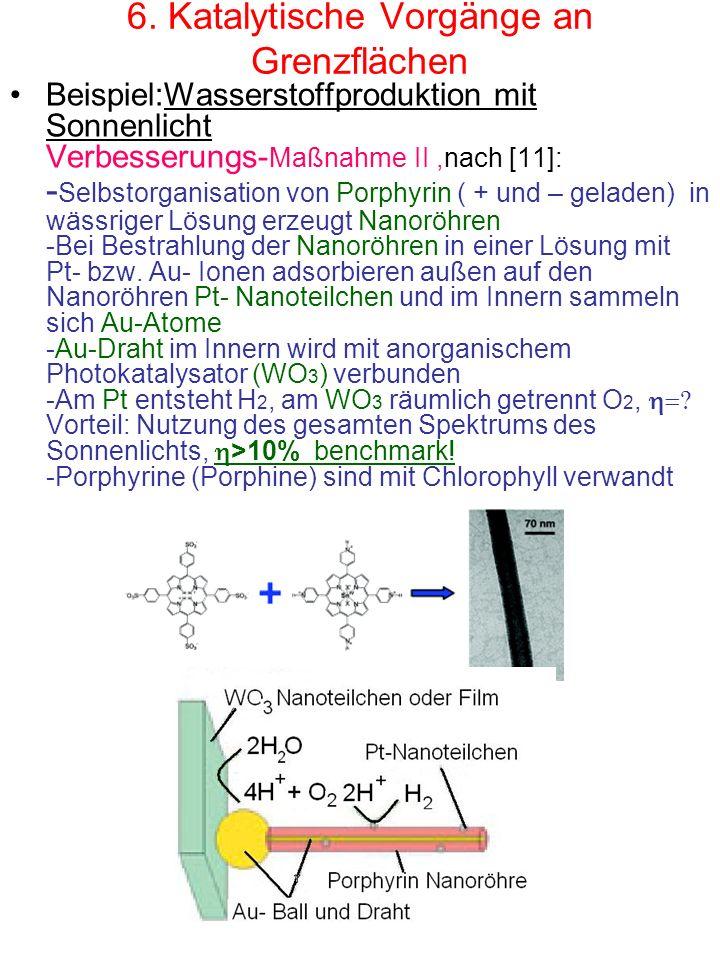 6. Katalytische Vorgänge an Grenzflächen Beispiel:Wasserstoffproduktion mit Sonnenlicht Verbesserungs- Maßnahme II,nach [11]: - Selbstorganisation von