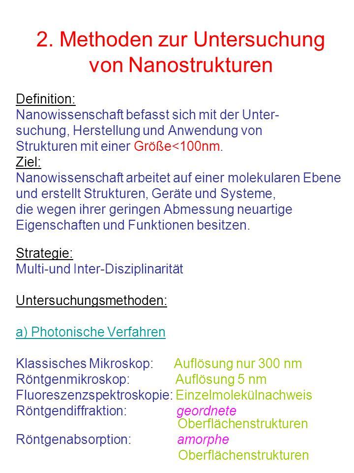 2. Methoden zur Untersuchung von Nanostrukturen Definition: Nanowissenschaft befasst sich mit der Unter- suchung, Herstellung und Anwendung von Strukt