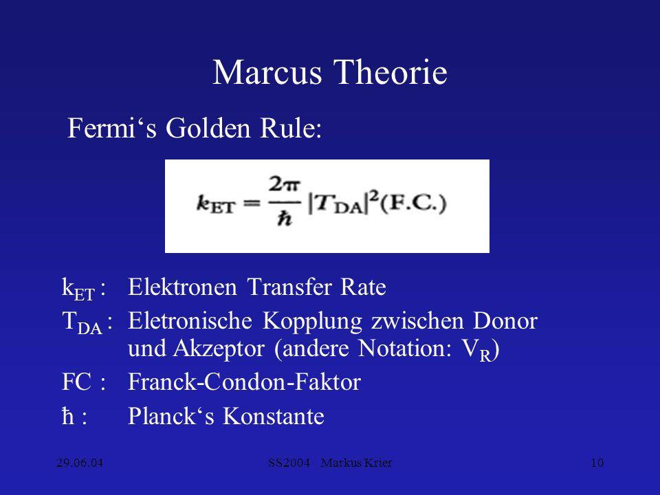 29.06.04SS2004 Markus Krier10 Marcus Theorie k ET : Elektronen Transfer Rate T DA : Eletronische Kopplung zwischen Donor und Akzeptor (andere Notation