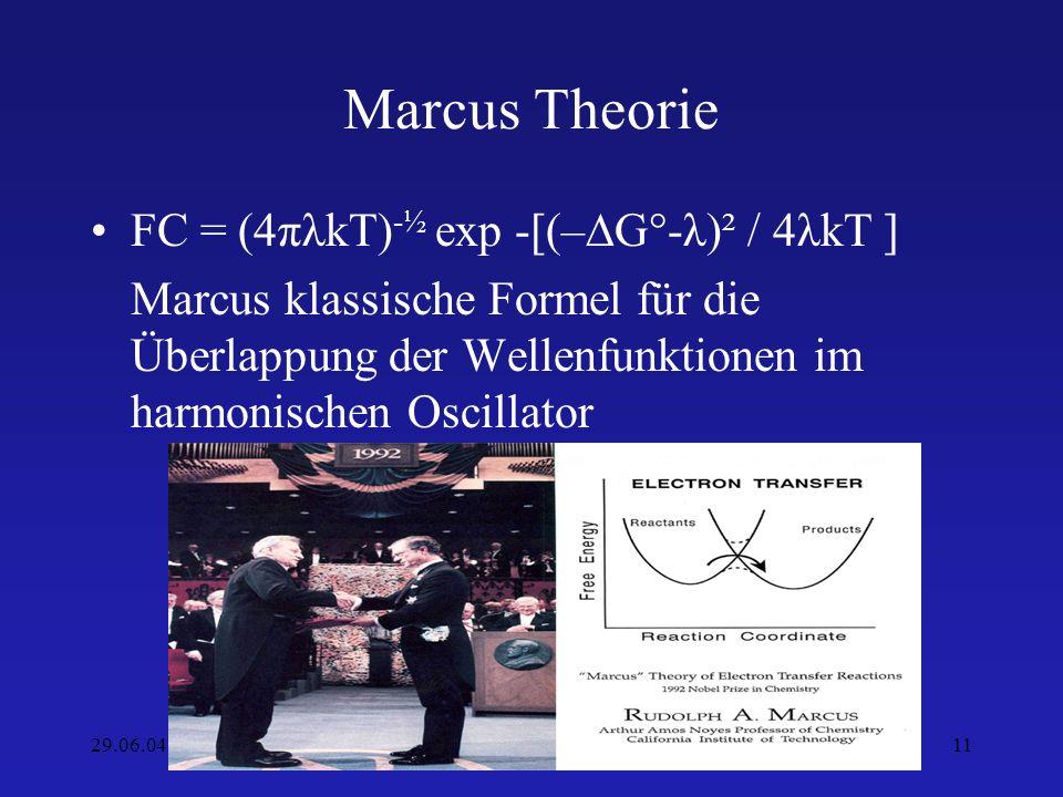 29.06.04SS2004 Markus Krier11 Marcus Theorie FC = (4πλkT) -½ exp -[(–G°-λ)² / 4λkT ] Marcus klassische Formel für die Überlappung der Wellenfunktionen