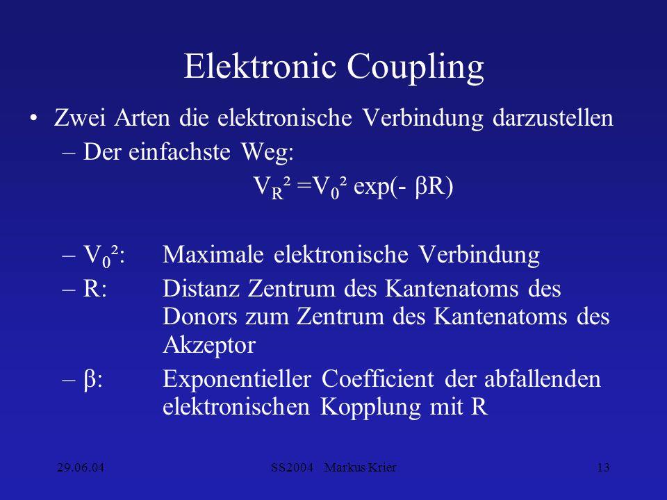 29.06.04SS2004 Markus Krier13 Elektronic Coupling Zwei Arten die elektronische Verbindung darzustellen –Der einfachste Weg: V R ² =V 0 ² exp(- βR) –V