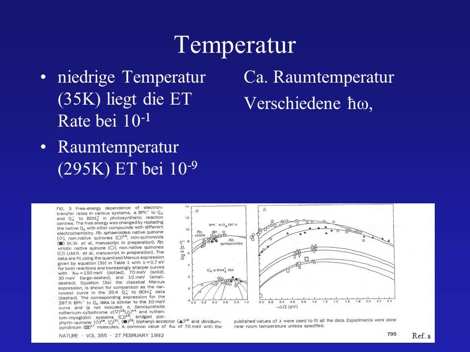 29.06.04SS2004 Markus Krier16 Temperatur niedrige Temperatur (35K) liegt die ET Rate bei 10 -1 Raumtemperatur (295K) ET bei 10 -9 Ca. Raumtemperatur V