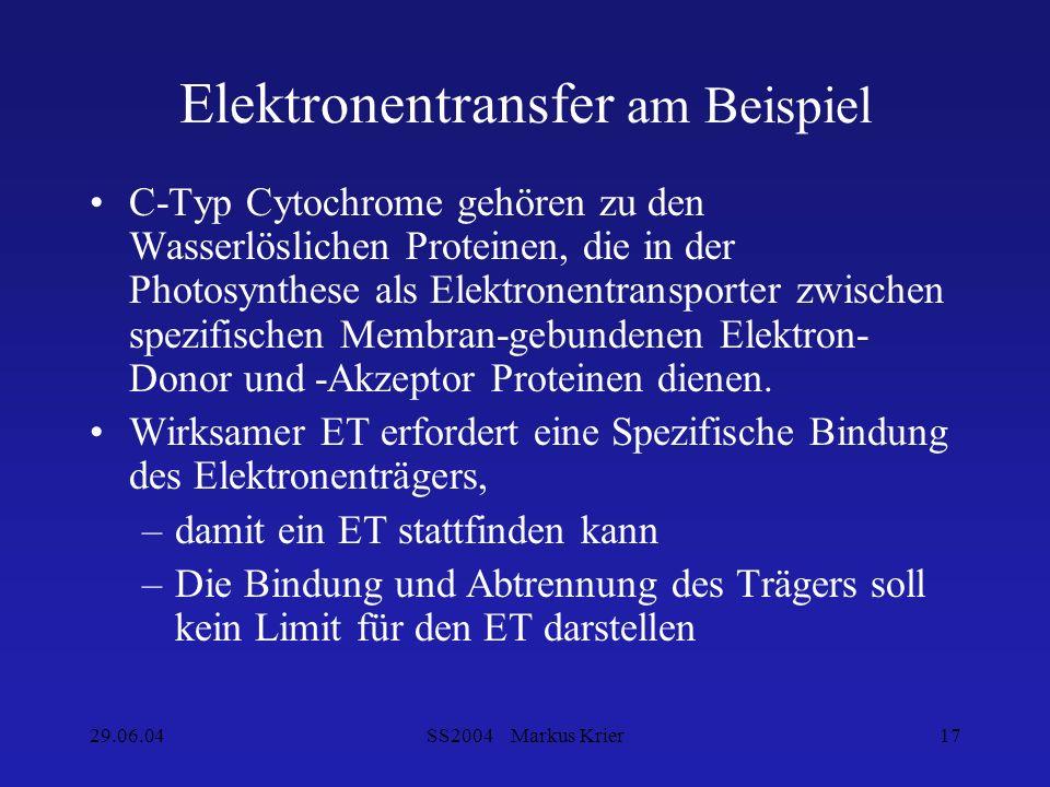 29.06.04SS2004 Markus Krier17 Elektronentransfer am Beispiel C-Typ Cytochrome gehören zu den Wasserlöslichen Proteinen, die in der Photosynthese als E