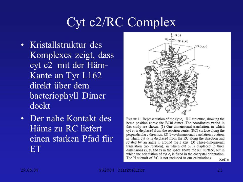 29.06.04SS2004 Markus Krier21 Cyt c2/RC Complex Kristallstruktur des Komplexes zeigt, dass cyt c2 mit der Häm- Kante an Tyr L162 direkt über dem bacte