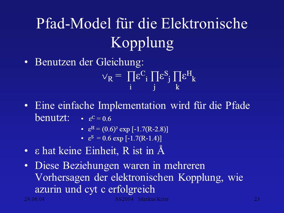 29.06.04SS2004 Markus Krier23 Pfad-Model für die Elektronische Kopplung Benutzen der Gleichung: v R = ε C i ε S j ε H k i j k Eine einfache Implementa