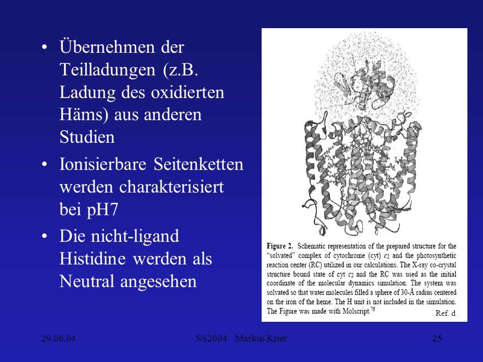 29.06.04SS2004 Markus Krier25 Übernehmen der Teilladungen (z.B. Ladung des oxidierten Häms) aus anderen Studien Ionisierbare Seitenketten werden chara