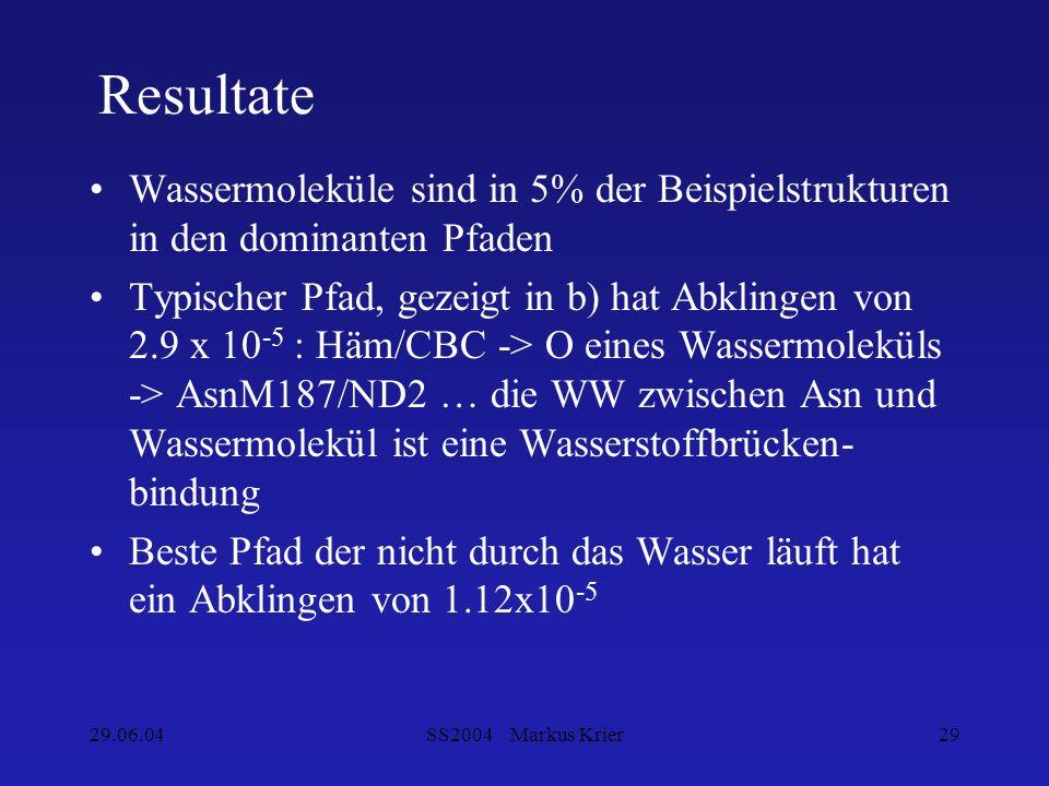 29.06.04SS2004 Markus Krier29 Resultate Wassermoleküle sind in 5% der Beispielstrukturen in den dominanten Pfaden Typischer Pfad, gezeigt in b) hat Ab