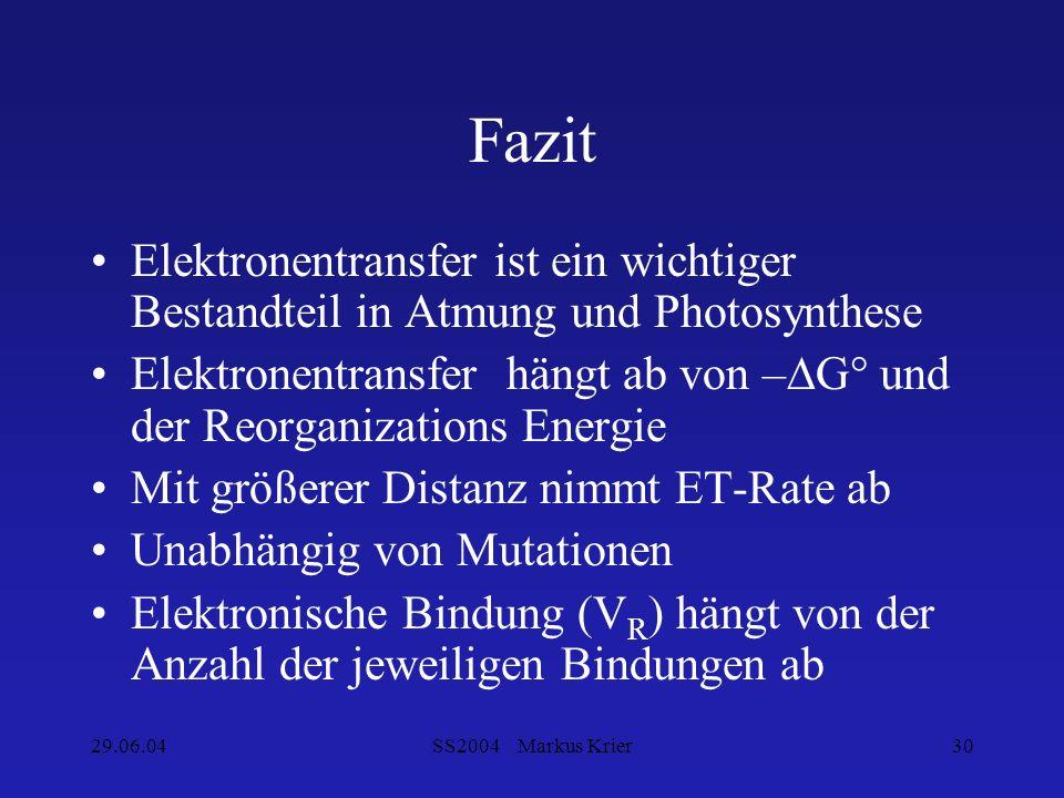 29.06.04SS2004 Markus Krier30 Fazit Elektronentransfer ist ein wichtiger Bestandteil in Atmung und Photosynthese Elektronentransfer hängt ab von –G° u
